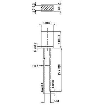 Everlight Opto 514UYD LED wired Yellow Rectangular 2 x 5 mm 2.3 mcd 180 ° 10 mA 2 V