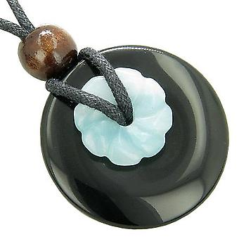 Double Lucky Amulet Spiritual Black Onyx and Amazonite Necklace