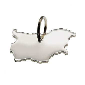 Trailer map Bulgaria pendant in solid 925 Silver