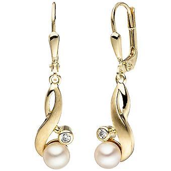 333 earrings gold yellow gold matte 2 Freshwater Pearl 2 cubic zirconia earrings
