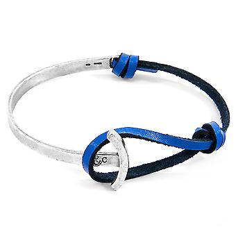 Anchor & Crew Royal Blue Galleon Anchor Silver and Flat Leather Half Bangle