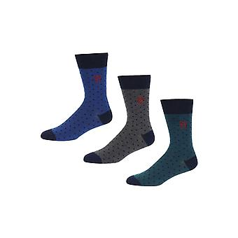 New Designer Mens Fenchurch 3 Pack Gift Casual Calf Socks Bath