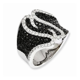Sterling Silver Rhodium-plated and Cubic Zirconia Brilliant Embers Ring - Ring Size: 6 to 7