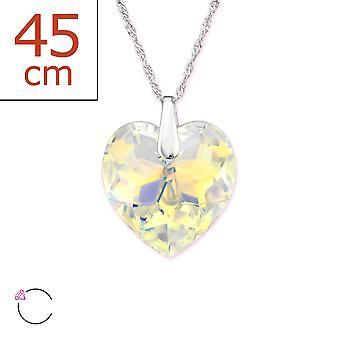Hjertet krystall fra Swarovski® - 925 sterlingsølv + Crystal halskjeder - W29491x