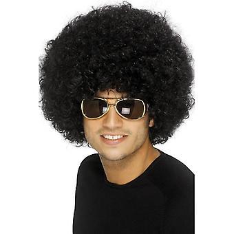 Short Black Afro Wig, 70s Funky Black Afro Wig. Fancy Dress Accessory.