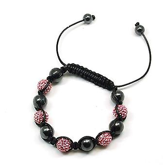 TOC Treated Hematite & Pink Crystal Disco Ball Adjustable Bracelet