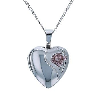 TOC Sterling Silver Pink Rose 12mm Heart Locket Necklace 18