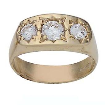 9ct Gold set with 3 CZ's Dress Ring Size R