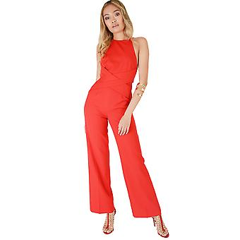 Lavish Alice Wrap Around Red Jumpsuit With Open Back