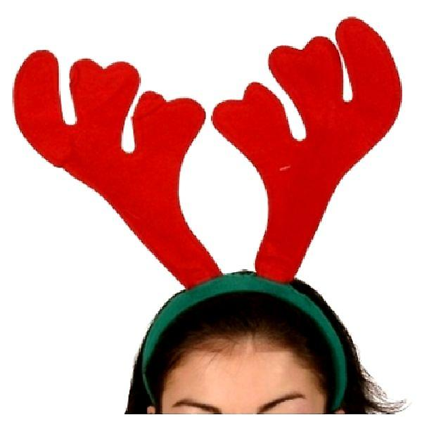 Reindeer Antlers Red Felt On A Green Headband