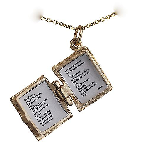 9ct Gold 15x14mm The Holy Bible Pendant with Cable link chain