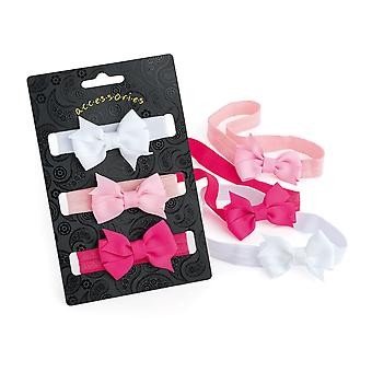 3 Piece Elasticated Head Wrap With Bow Pastel Colour 5.5cm