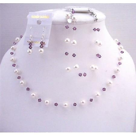 White Pearls Swarovski Amethyst Crystals Bridesmaid Affordable Jewelry