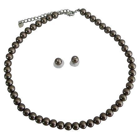 Bridal Bridesmaid Jewelry Bronze Brown Pearls Necklace Stud Earrings