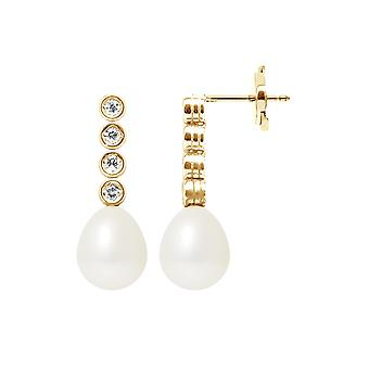 Earrings Pendante White Culture Pearls, Diamonds and Yellow Gold 750/1000