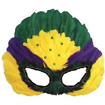 Mask Mardi Gras Sequin Feather For Adults