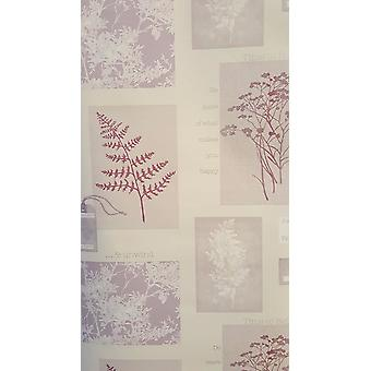 Foliage Wallpaper Trees Flowers Collage Phrases Heavyweight Plum Arthouse