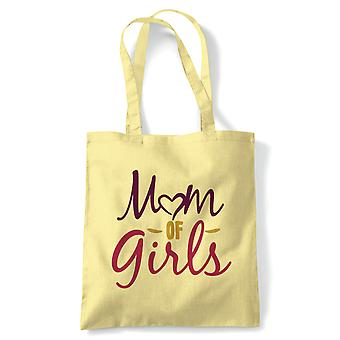 Mom of Girls Heart Tote | Reusable Shopping Cotton Canvas Long Handled Natural Shopper Eco-Friendly Fashion | Gym Book Bag Birthday Present Gift Him Her | Multiple Colours Available