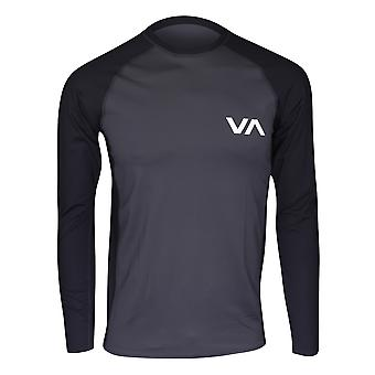 RVCA Mens VA Sport LS Compression Training Rashguard - Slate Gray/Black