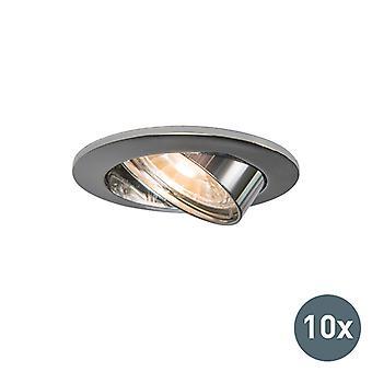 QAZQA Set of 10 Round Recessed Spotlight Tilting Chrome - Edu
