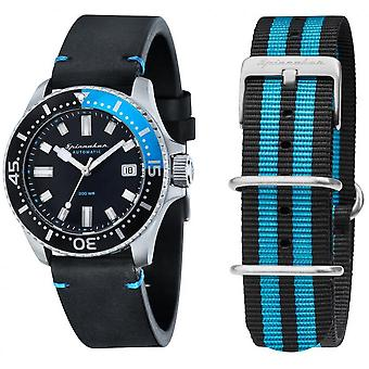 Box Spinnaker SP-5039-01 - Spence global shades of blue black dial steel case black leather strap + man Nato strap