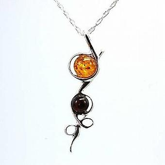 Toc Sterling Silver Climbing Flower Amber Pendant on 18 Inch Chain