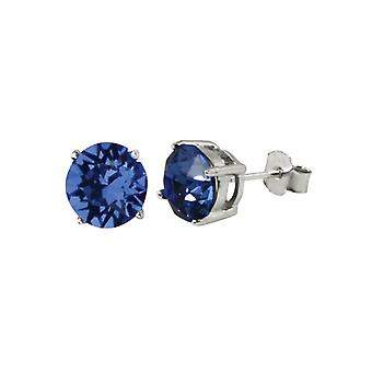 Eternal Collection Starlet Sterling Silver Sapphire Blue Austrian Crystal Solitaire Stud Earrings