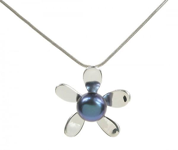 Cavendish French Sterling Silver and Black Pearl Daisy Pendant without Chain