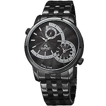 August Steiner Men's Dual Time Easy-to-Read Black Stainless Steel Bracelet Watch AS8210BK
