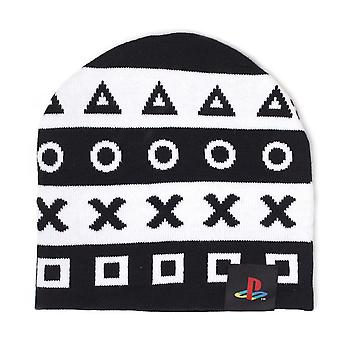 Símbolos de PlayStation Beanie One Size-negro/blanco (KC042612SNY)