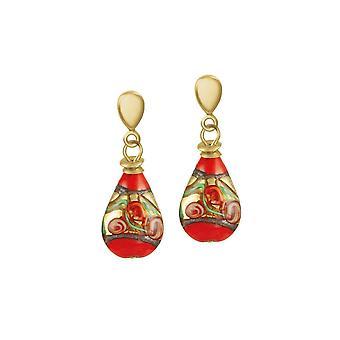 Eternal Collection Genoa Fiery Orange Venetian Murano Glass Drop Clip On Earrings