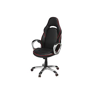 Furnhouse Speedy 1 Office Chair, Black/Red PU, Plastic Base, 70x66x131 cm