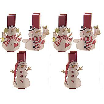 Puckator Novelty Snowman Mini Decorative Pegs, Pack of 6