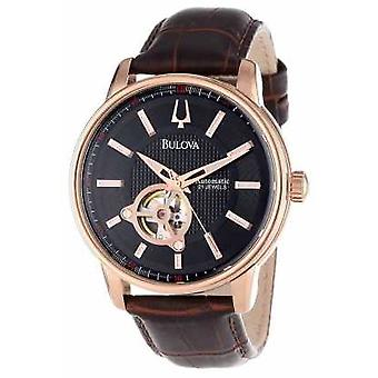 Bulova Mens automatico Rose Gold Brown Leather Watch Strap 97A109