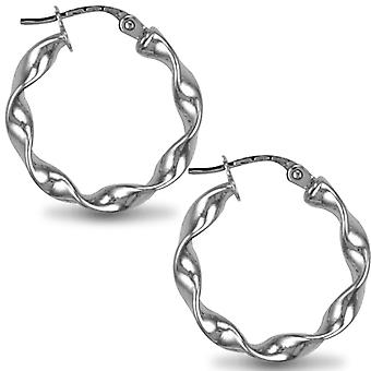 Jewelco London Sterling Silver Loose Twist Hoop Orecchini - 3mm - 2cm