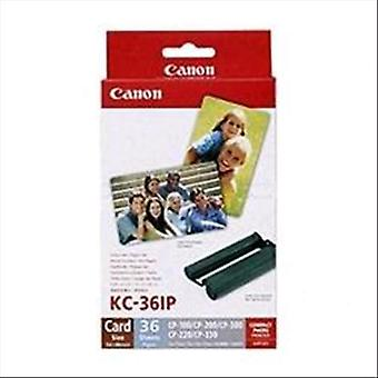 Canon kc-36ip kit 36 sheets white matt 59x89 mm photo paper + print cartridge (7739a001)