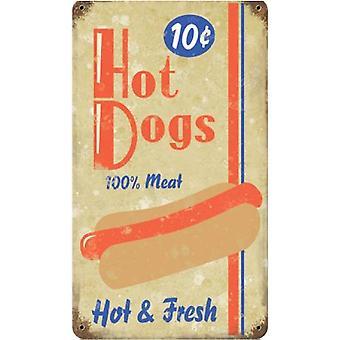 Hot Dogs 10C rostiga metall skylt 14 X 8