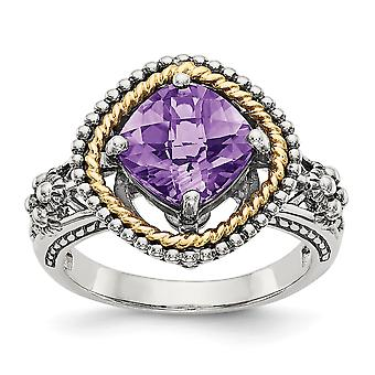925 Sterling Silver Polished Prong set Antique finish With 14k 2.10Amethyst Ring - Ring Size: 6 to 8