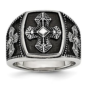 Stainless Steel Polished and Antiqued Cross Ring - Ring Size: 9 to 12