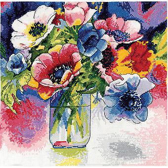 Watercolor Anemonies Counted Cross Stitch Kit-12