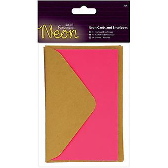 Papermania Neon Cards W/Envelopes 3/Pkg-Pink PM151851