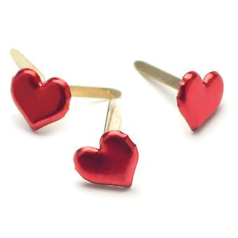Painted Metal Paper Fasteners 50 Pkg Metallic Red  Hearts Ci90315