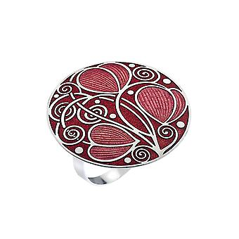 Mackintosh Leaves and Coils Enamel Scarf Ring Gift Boxed - Red