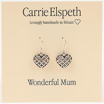 Carrie Elspeth sølv vidunderlig mor hjerte Sentiment dråbe øreringe
