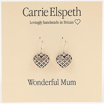 Carrie Elspeth Silver Wonderful Mum Heart Sentiment Drop Earrings