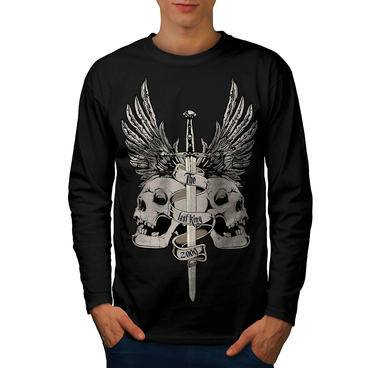 The Last King Leader Skull Rule Men Black Long Sleeve T-shirt | Wellcoda