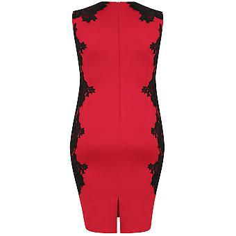 AX PARIJS KROMME rode & zwarte Scuba Midi jurk met kant Detail