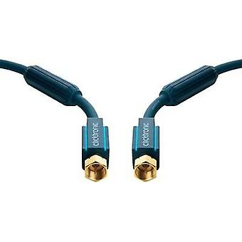 SAT Cable [1x F plug - 1x F plug] 10 m 95 dB gold plated connectors, incl. ferrite core Blue clicktronic