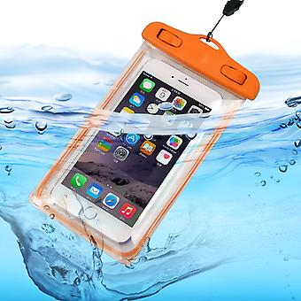 ONX3 (Orange) Samsung Galaxy Xcover 4 Universal Transparent Mobile Cell Smart Phone, Passport, Money Underwater Waterproof Protection Bag Touch Responsive