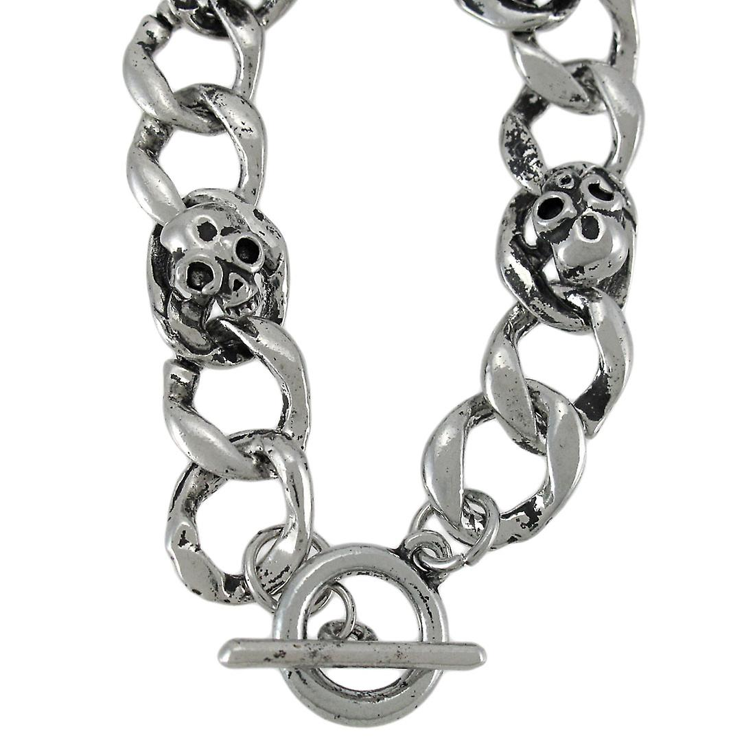 Curb Chain Link Bracelet with Skulls and Toggle Clasp